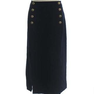 ポロラルフローレン(POLO RALPH LAUREN)のポロ ラルフローレン ロングスカート タイト 金ボタン ウール 紺 ネイビー 0(ロングスカート)