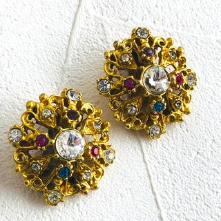 エイボン(AVON)のVintage gold stone earring 70s(イヤリング)