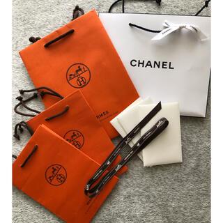 HERMESエルメス紙袋(2種)、CHANELシャネル紙袋の セット