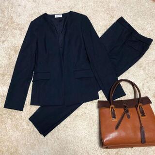 プラステ(PLST)の【美品】PLST スーツ セットアップ 麻混 ノーカラージャケット ネイビー(スーツ)