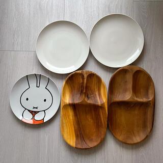 ムジルシリョウヒン(MUJI (無印良品))の無印 磁気ベージュ皿大 2枚 23cm ウッドプレート2枚 ミッフィー(食器)