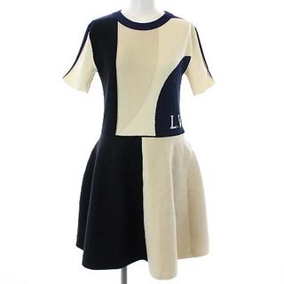 ルイヴィトン(LOUIS VUITTON)のルイヴィトン フィットアンドフレアニットインタルシアドレス ひざ丈 半袖 XS(ひざ丈ワンピース)