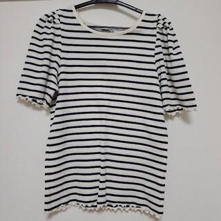 ボーダー裾フリル Tシャツ(Tシャツ(半袖/袖なし))