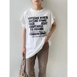 フレームワーク(FRAMeWORK)のFRAMeWORK フレームワーク  モノトーンプリントフレンチスリーブTシャツ(Tシャツ(半袖/袖なし))