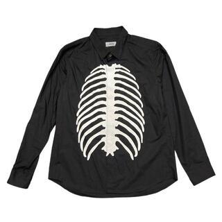 アンダーカバー(UNDERCOVER)の34-7)アンダーカバー 13AW 肋骨 ボーン長袖シャツ ブラック/ホワイト (シャツ)