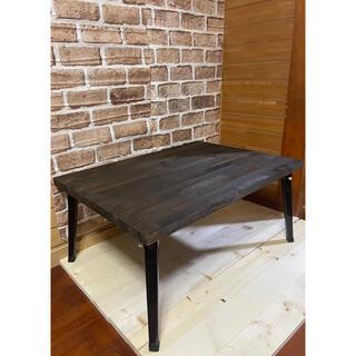 木目調センターテーブル ローテーブル   折り畳み 棚 収納可能 アンティーク(ローテーブル)