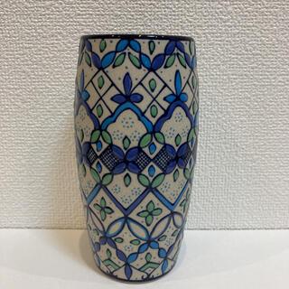 新品 メキシコ高級陶器 セルビン焼き飾り花瓶 ブルー(花瓶)