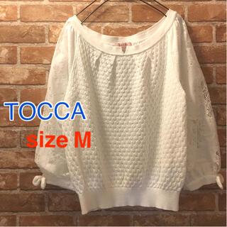 トッカ(TOCCA)のTOCCA サイズM ニット 白 レース袖 リボン レディース(ニット/セーター)