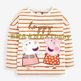 ●エクリュ ストライプ ペッパピッグ&羊のスージー Tシャツ(ヤンガー)