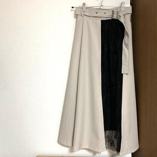 アルシーヴ(archives)の【archives】 異素材切替スカート(ひざ丈スカート)