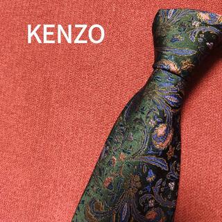 ケンゾー(KENZO)のケンゾー ネクタイ 高級 ビジネス シルク 総柄 花柄 グリーン 緑 h45(ネクタイ)