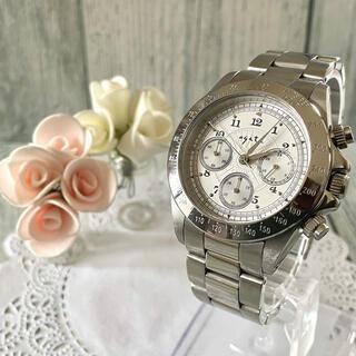 アガット(agete)の【動作OK】agete FOR MEN 腕時計 シルバー クロノグラフ(腕時計(アナログ))