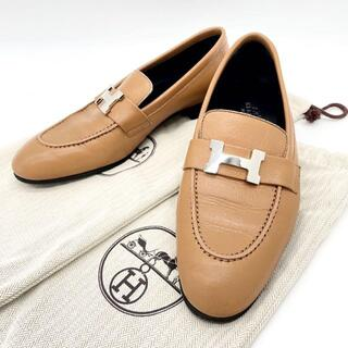 エルメス(Hermes)の【美品】エルメス コンスタンス モカシンパリ レディースローファー 1Q65(ローファー/革靴)