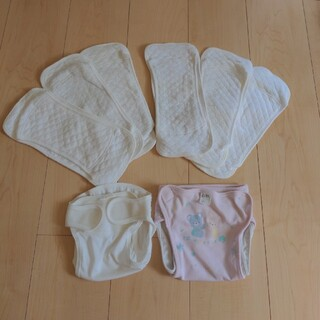 布おむつセット エコ 布おむつ6枚、カバー2枚 洗って使える サイズ60〜(布おむつ)