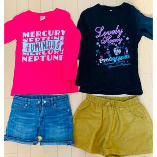 ユニクロ(UNIQLO)の女の子 130cm  長袖Tシャツ、トレーナー、パンツ2点、まとめ売り(その他)