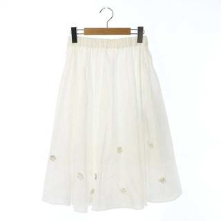 ミュベールワーク(MUVEIL WORK)のミュベールワーク フレアスカート ロング フラワーモチーフ 36 白 ホワイト(ロングスカート)