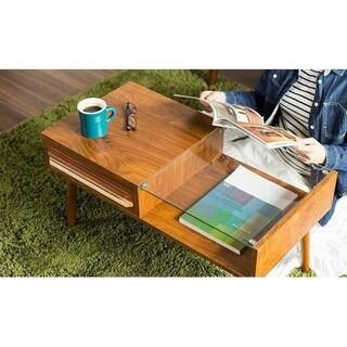 ✨北欧モダン✨ クリアガラス&木目調 シンプルテーブル 簡単組み立て品(ローテーブル)