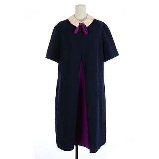 TED BAKER - テッドベーカー ワンピース リボン ミモレ ロング 半袖 紫 紺