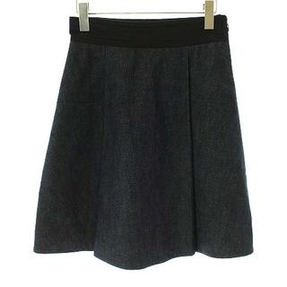 ミュウミュウ(miumiu)のミュウミュウ miumiu デニムスカート ひざ丈 フレア タック 40 M 紺(ひざ丈スカート)