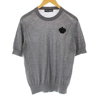 ドルチェアンドガッバーナ(DOLCE&GABBANA)のドルチェ&ガッバーナ ドルガバ ニット セーター 半袖 刺繍 44 XS グレー(ニット/セーター)