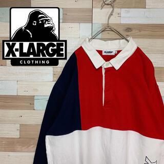 エクストララージ(XLARGE)のXLARGE エクストララージ ラガーシャツ ポロシャツ 長袖 ネイビー XL(ポロシャツ)