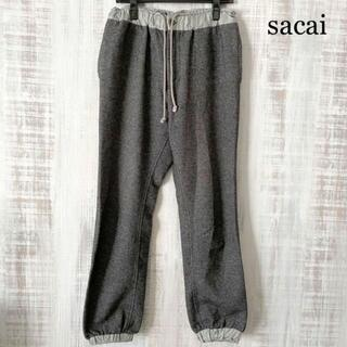 sacai - 希少 sacai サカイ ウール リヴ切り替え パンツ グレー