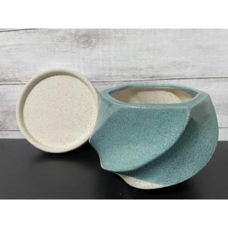 234 釉薬陶器 おしゃれ 受け皿 プランター 植木鉢 ターコイズ、(プランター)