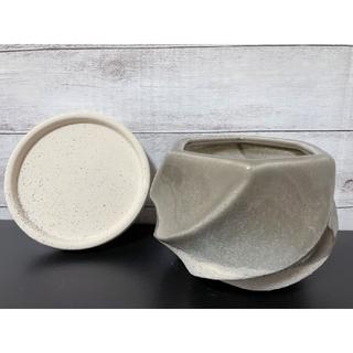 233 釉薬陶器 おしゃれ 受け皿 プランター 植木鉢 ブラウン(プランター)