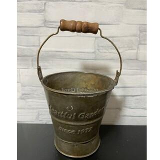 242 小 バケツ ブリキ プランター アンティーク インテリア 植木鉢(プランター)