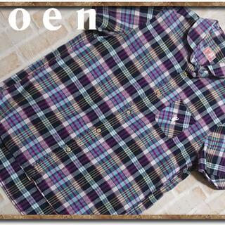 coen - Coen コーエン 刺繍入りチェック半袖シャツ