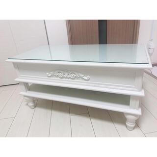 【1点物】ロココ 天板引き出しセンターテーブル アンティークホワイト(ローテーブル)