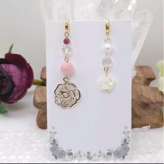 天然石マスクチャーム2点セット マザーオブパール薔薇、ピンクオパール(チャーム)
