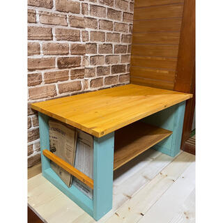 ローテーブル  アンティーク風 センターテーブル お洒落家具 本棚付き カフェ風(ローテーブル)