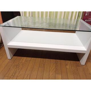 引き取りのみ ガラステーブル ダイニングテーブル 白 90 45(ローテーブル)