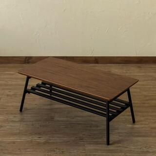 人気 おしゃれ カフェテーブル ローテーブル 棚付き 折りたたみ ブラウン(ローテーブル)