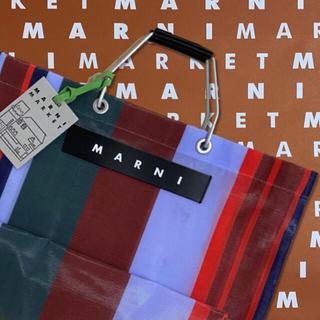 マルニ(Marni)のMARNI♡マルニマーケット♡ストライプバック♡ラッカーレッド(かごバッグ/ストローバッグ)