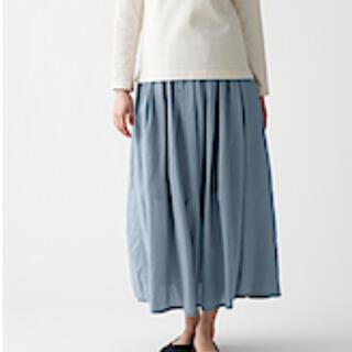 ムジルシリョウヒン(MUJI (無印良品))の洗いざらし強撚ギャザースカート Sライトブルー(ロングスカート)