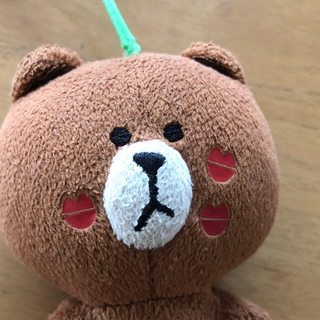 LINE ブラウン ストラップ キーホルダー ぬいぐるみ(キャラクターグッズ)
