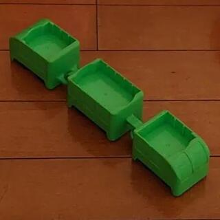 電車 トロッコ 鉄道 3両 3台 おもちゃ 黄緑色 グリーン(電車のおもちゃ/車)