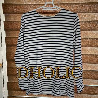 ディーホリック(dholic)のDHOLIC 長袖Tシャツ ボーダー ネイビー×オフホワイト サイズL(Tシャツ/カットソー(七分/長袖))