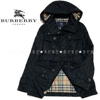バーバリー(BURBERRY)のバーバリー ロンドン 裏地チェック フード付 キルティング ジャケット 38 黒(ブルゾン)