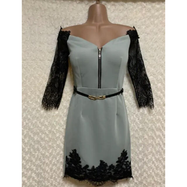 JEWELS(ジュエルズ)の刺繍レーススリーブ/フロントファスナー/オフショルドレス レディースのフォーマル/ドレス(ミニドレス)の商品写真
