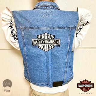 Harley Davidson - 90s ハーレーダビッドソン デニムベスト バックロゴ 大判刺繍 古着男子