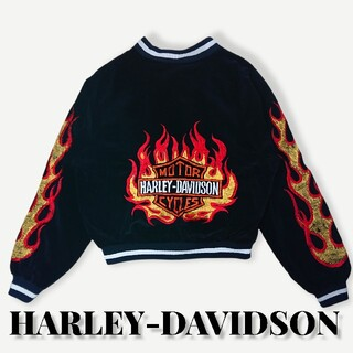 Harley Davidson - 古着ハーレダビッドソンファイヤーパターン刺繍ビッグロゴジャケットバッグプリント