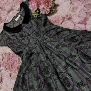 アンジェリックプリティー(Angelic Pretty)のSecret honey♥リズリサ♥深緑色♥黒♥花柄♥ワンピ(ミニワンピース)