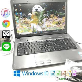 エプソン(EPSON)の✨美品 初心者用ノートパソコン EPSON Windows10 DVD鑑賞も(ノートPC)