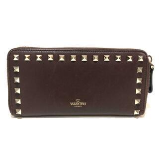 ヴァレンティノ(VALENTINO)のヴァレンティノ ロックスタッズ ラウンドファスナー ブラウン×シルバー レザー(財布)
