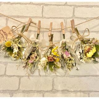 ドライフラワー スワッグ ガーランド❁397 薔薇 スターチス 黄色 白 花束(ドライフラワー)
