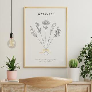 【ファミリーポスター】家族の名前入り 選べるお花 ウエルカムボード(ウェルカムボード)