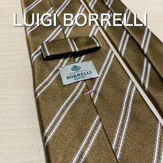 LUIGI BORRELLI - 【美品】LUIGI BORRELLI  カーキ レジメンタル  ネクタイ